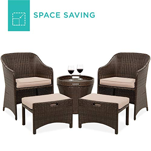 Best Choice Products 5-Piece Outdoor Wicker Patio Bistro Space Saving Furniture Set w/Storage Table, No Assembly - Brown