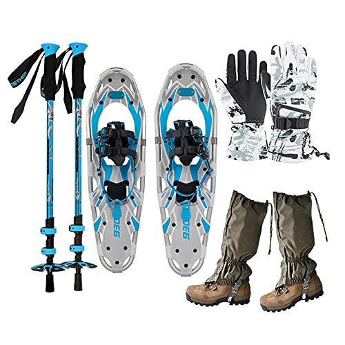 Leichte Geländeschneeschuhe, Alu-Schneeschuhe Mit Verstellbaren Stöcken, Handschuhe, Beingamaschen, Tragetasche, Für Herren Damen Jugend Kinder,Blau,25