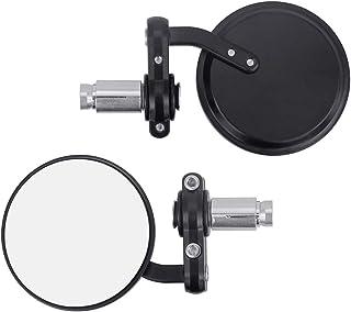 LYTIVAGEN 2 Stück Motorrad Lenkerendenspiegel Runde Motorrad Spiegel Universal Motorrad Rückspiegel Aluminium 360° Drehbarer Lenkerspiegel mit 4mm Inbusschlüssel für Motorrad