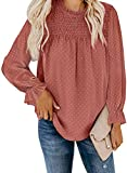 Dokotoo Womens Ladies 2021 Fall Sexy Lace Smocked Crewneck Ruffle Puff Long Sleeve Boho Shirts Casual Loose Solid Pom Pom Swiss Dot Chiffon Blouses for Women Tops M Red