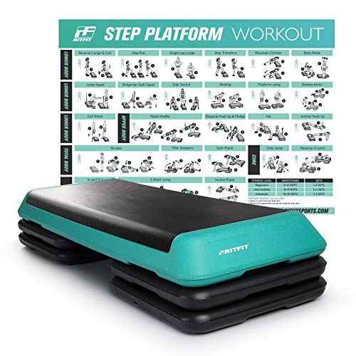 RitFit Adjustable Exercise Step Platform with 4 Risers, Gym-Sized Step for Building Strength, Reducing Fat and Aerobic Exercise, Workout Guide Post Included(Tiffany Blue)