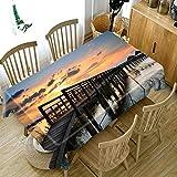 ETDSDVF Mantel redondo 3D de verano Jamaica Negril playa tablón de madera patrón camino grueso impermeable tela rectangular mantel-100 x 140 cm