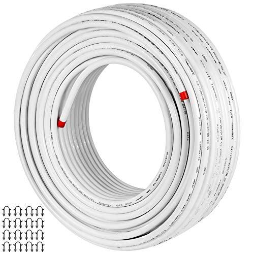 VEVOR 50 m Isolierung Heizungsrohre Fußbodenheizungsrohr PEX Al Isolierung Mehrschichtverbundrohr, für Häusliche Wasserversorgung, Verwendung Fußbodenheizungen(50M, Weiß)
