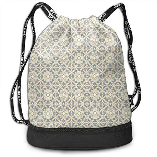 DPASIi Mochilas con cordón para el día, arabesco, marroquí, diseño floral inspirado en los azulejos cuadrados, círculos de arte, cierre de cuerda ajustable.