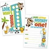 Safari 1st Birthday Invitations for Boys and Girls - Jungle Theme Zoo Animals First Birthday Invites (20 Count with Envelopes)