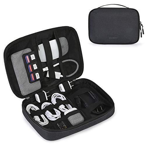 bagsmart Kabel Organizer Tasche, Universal Elektronik Zubehör Tasche mit Griff für Handy, Kabel, Festplatte, USB Sticks, SD Karten, Schwarz