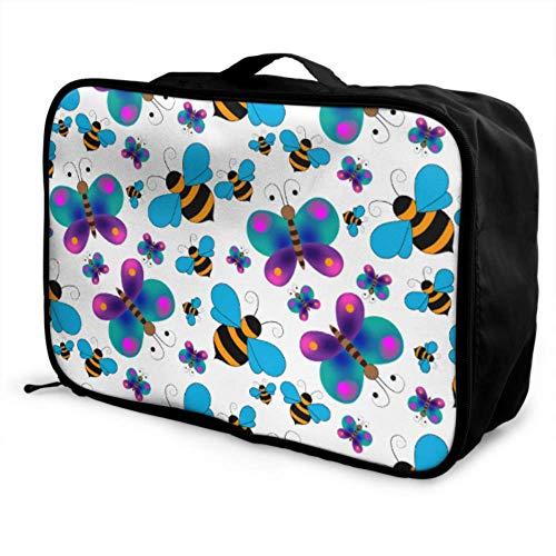 Custom Carry On Garment Bags Lightweight Childlike Cartoon Cute Butterfly Bee Best Travel Duffel Bag Foldable Portable Storage Luggage Bag With Trolley Sleeve