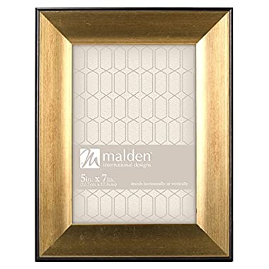 Malden International Designs Copley Picture Frame with Black Boarder, 5x7, Gold
