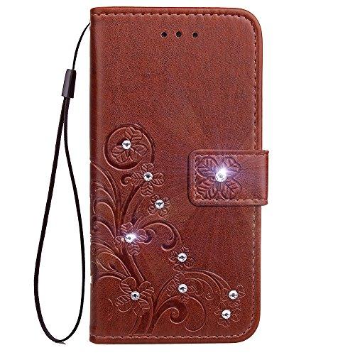Lomogo Galaxy S9 Hülle Leder, Schutzhülle Brieftasche mit Kartenfach Klappbar Magnetisch Stoßfest Handyhülle Case für Samsung Galaxy S9/G960F - LOSDA080543 Braun