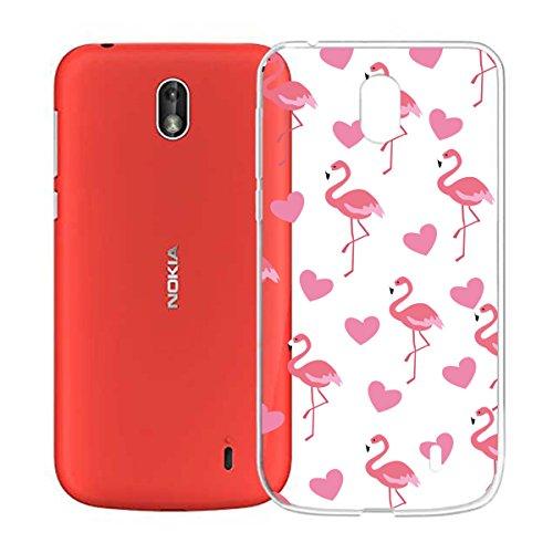 """IJIA Custodia per Nokia 1 Trasparente Amare-Cuore Fenicotteri TPU Silicone Morbido Protettivo Coperchio Skin Custodia Bumper Protettiva Case Cover per Nokia 1 (4.5"""")"""