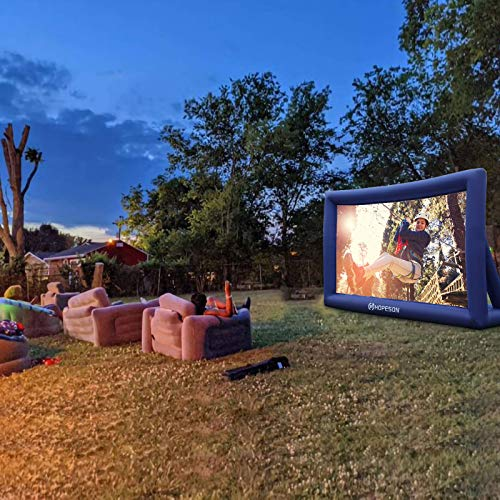 Hopeson 20 Feet Outdoor Inflatable Movie Projector Screen Portable Blow Up TV Projector Screen Motorized Blue Theater Screen Backyard Rear Projection