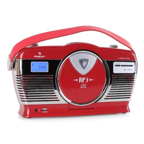 auna RCD-70 Retro CD-Radio Nostalgie Radio (UKW Radio, MP3-fähiger USB-Port, frontlader CD- / MP3-Player, programmierbare Wiedergabe, Zufallswiedergabe, Netz- / Batterie-Betrieb, Tragegriff) rot