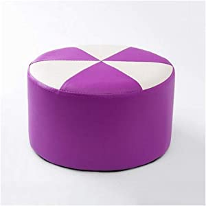 Carl Artbay Wooden Footstool Purple Plus White Stool Children's Leather Stool Home Changing His Shoes Stool Home