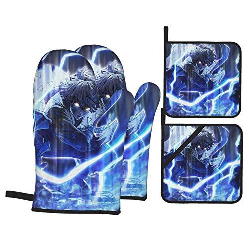 yongxing Anime Demon Manoplas y soportes para ollas Sets 4 Pa antideslizante resistencia al calor esteras cocina barbacoa unisex guantes lindos