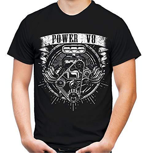 Power V8 Männer und Herren T-Shirt | Mechaniker Big Block Motor Auto Hot Rod (XL, Schwarz)