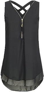 N\P Vrouwen Zoom Rits Effen Kleur T-Shirt Vest Top