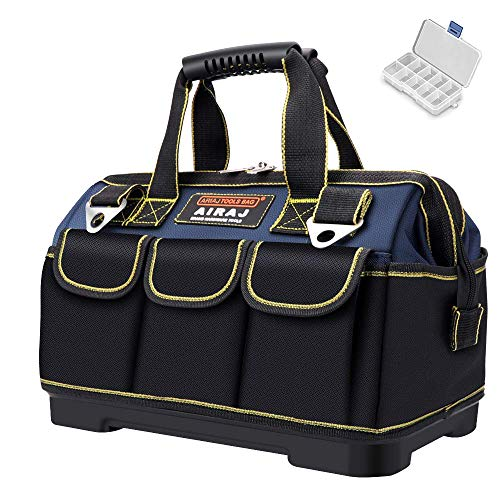 AIRAJ 16 in Tool Bag for Men, Large Storage Bag with ABS Plastic Molded Base,Adjustable Shoulder Strap, Professional Electricians Tools Tote (Blue & Black)