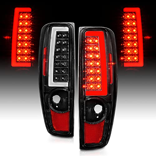 AmeriLite for 2004-2012 Chevy Colorado GMC Canyon Black C-Type LED Tube Tail Lights Pair - Passenger and Driver Side
