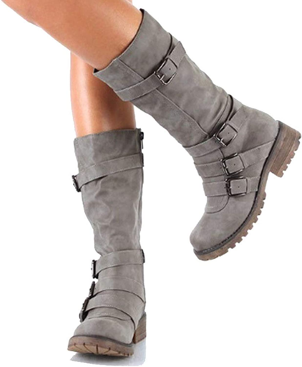 Elsa Wilcox Womens High Tube Flat Riding Winter Boots Winter Snow Boots Mid Calf Slouchy Boot Dress shoes