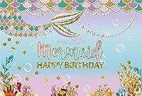 新しい女の子の誕生日パーティーの背景10x7ft海底のリトルマーメイド写真の背景水中のテーマ誕生日パーティーのバナーベビールーム保育園の壁のケーキテーブルの装飾写真ブースの小道具