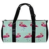 TIZORAX Seesack für Damen und Herren, nahtlose Flamingo-Tapete, Sport, Fitnessstudio, Tragetasche, Wochenende, Übernachtung, Reisetasche, Outdoor-Gepäck, Handtasche