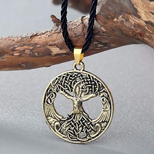 DYKJ Collar Vikingo árbol de la Vida Colgante Vikingo árbol mitología nórdica Asatru Cruz Nudo Collares joyería al por Mayor