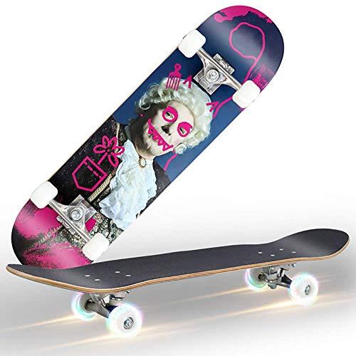 Dujie Deck Cruiser, Standard Skateboard Color Flashing Wheel for Beginners, 31 Inch Drop Through Longboard Skateboard Complete Heavy-Duty Aluminum Truck (Color : 1)