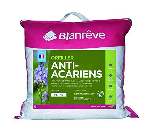 Blanrêve - Lot de 2 Oreillers Anti acariens - à base d'huiles essentielles - confort Ferme - 60x60 cm