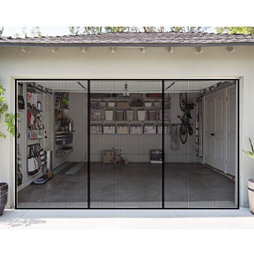 Garage Door Screen for 2 Car 16 x 7 Ft Retractable Magnetic Self-Closing Garage Screen Mesh Net, Durable, Hand Free, Easy to Install.
