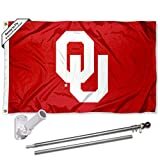 College Flags & Banners Co. Oklahoma Sooners OU Logo Flag with Pole and Bracket Kit