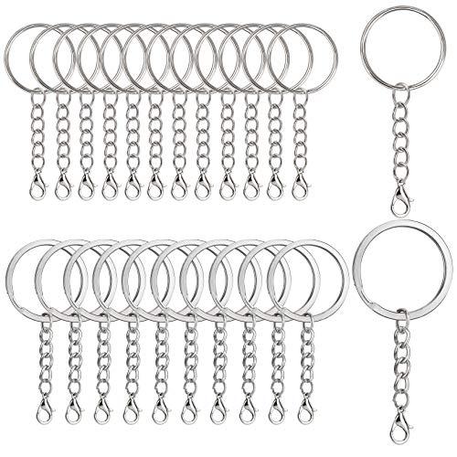 RZKJ-SHOP Schlüsselringe mit Kette, Schlüsselanhänger mit Karabiner, Metall Keyring Chain 60 Stück Kleine abnehmbare Vernickelte Schlüsselring für DIY Basteln