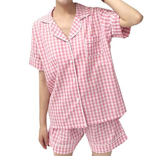 Pyjama-Set Damen Kariert Negligee Einreihig Mit Taschen Kurzarm Revers Mädchen Schlafanzüge Boxershort High Waist (Color : Rosa, Size : S)