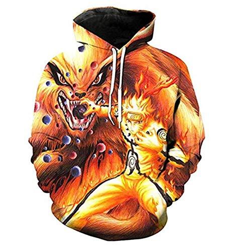 WCYL Pullover Sudaderas Jerséis Chaquetas Camisetas De Larga Manga Larga Camisas Top Transpirable Suéter Unisex 3D HD Anime Impreso Capucha Cool Nylon Naruto