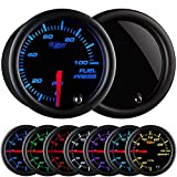 GlowShift Tinted 7 Color 100 PSI Fuel Pressure Gauge Kit - Includes Electronic Sensor - Black Dial - Smoked Lens - For Car & Truck - 2-1/16' 52mm