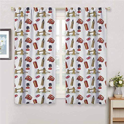 GUUVOR London for Bedroom Blackout Curtains Big Ben Tower Bridge Royal Guard Telephone Double Decker and UK Flag Blackout Curtains for The Living Room W42 x L72 Inch Violet Blue Red Sand Brown