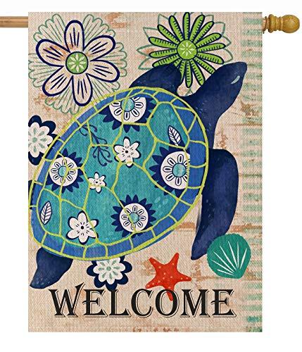 Dyrenson Turtle Beach 28 x 40 House Flag Welcome Summer Double Sided, Tropical Ocean Burlap Garden Yard Decoration Rustic Coastal, Nautical Sea Seasonal Outdoor Décor Decorative Large Flag