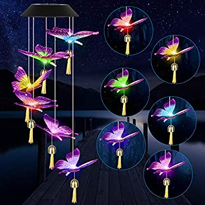 SUNJOYCO Solar Powered Butterfly Wind Chime with Bell, Waterproof Color-Changing Outdoor Decoration Colorful Hanging Light for Home Party Yard Garden Patio Porch, Unique Birthday