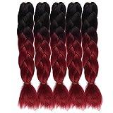 Ombre Jumbo Crochet Braiding Hair Extensions 24Inch Long Box Braids Hair Extensions 5Pcs/Lot Ombre Synthetic Yaki Fiber Braids for Girls(Black-Burgundy)