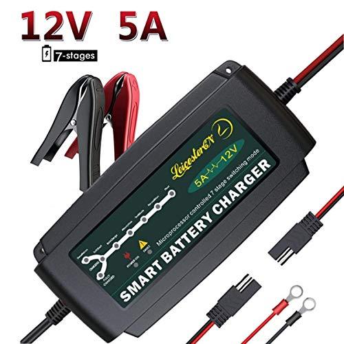 AutobatterieLadegerät/Kfz Batterieladegerät,Vollautomatisches LadegerätAutobatterie KfzBatterieladegerät12V Auto Batterie erhaltungsgerät für KFZ PKW Motorrad (12V 5A Upgrated)-MEHRWEG