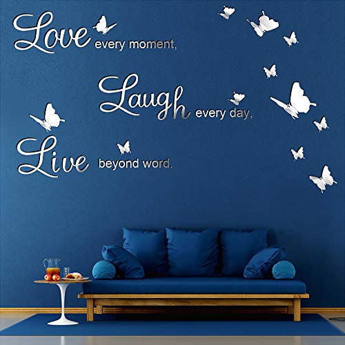 DIY Mirror Silver Love Every Moment, Live Beyond Words, Laugh Every Day Wall Stickers with 12 Pieces 3D Butterfly Removable Mural Stickers for Home Decoration Decal, 3 Letters L and 2 Boards