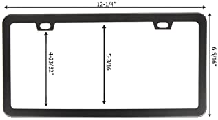 SunplusTrade License Plate Frame Black Matte Powder Coated Aluminum with Screw Caps (2 Pieces 2 Holes)