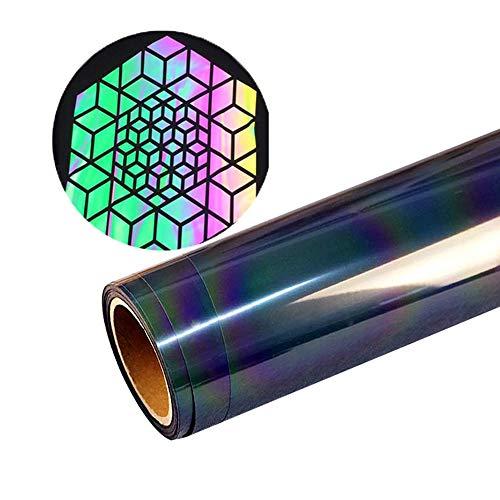 HOHOFILM 50 cm x 30 cm holografische Chamäleon-Wärmetransferfolie aus Vinyl, HTV, reflektierend, Regenbogenfarben, Klebefolie zum Selbermachen