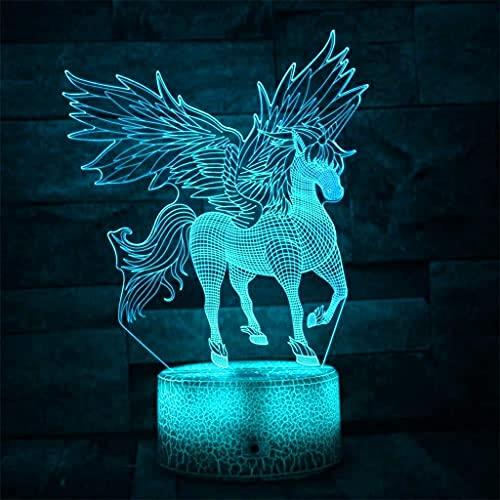 YYAI-HHJU Luz De Noche Creativa Unicornio 3D Efecto Visual Led Novedad Lámpara De Mesa Táctil 7 Colores De Escritorio USB Luz Decoración De La Habitación Luz Juguete De Regalo