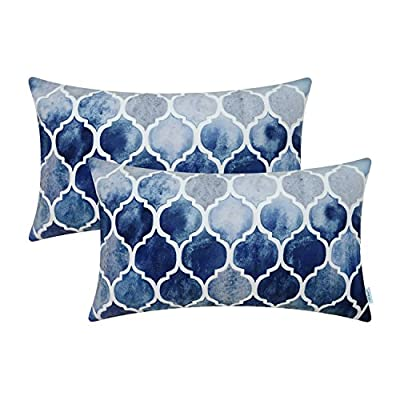 CaliTime Pack of 2 Throw Pillow Covers, Manual Hand Painted Print Colorful Trellis Chain