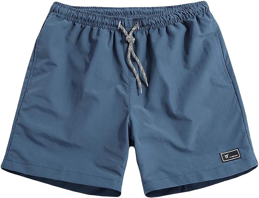 aihihe Mens Shorts Casual Summer Beach Elastic Waist Comfort Waist Flex Flat Front Short