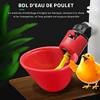 Lucky Farm 10 Pcs Abreuvoir À Poulet Abreuvoir Automatique Bol De Poulet avec Jaune Ferme Ferme Oiseaux Tasses À Boire (Rouge)
