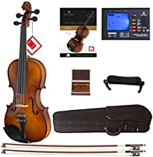 Cecilio CVN-300 Solidwood Ebony Fitted Violin with D'Addario Prelude Strings (Size 4/4 (Full Size), Varnish)