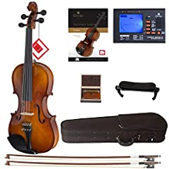 Size 4/4 (full size) violin with solid spruce wood top, maple back, neck and sides with inlaid purfling in antique varnish Ebony fingerboard, pegs chinrest, and tailpiece with 4 detachable nickel plated fine tuners Strung with D'Addario Prelude Strin...