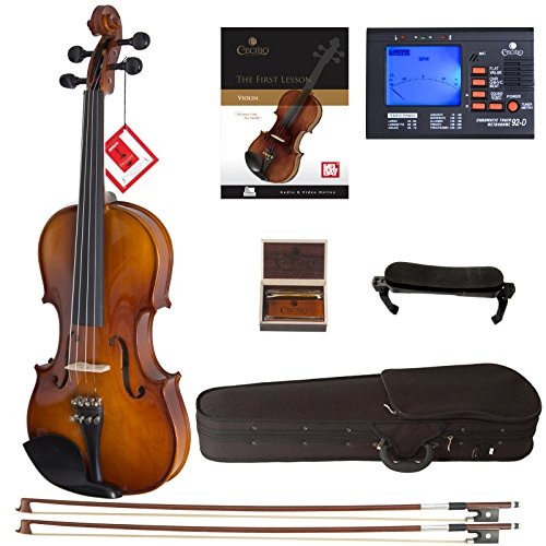 Cecilio CVN-300 Solidwood Ebony Fitted Violin with D