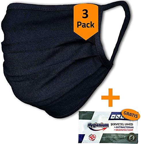 3er-Pack Mundschutz waschbar aus 100% Bio-Baumwolle Oeko-TEX 100 Standard, nachhaltig, Earloop-Design | Wiederverwendbare Behelfs-Abdeckung für Mund Nase in schwarz | 3 St. Hände-Hygienetücher gratis